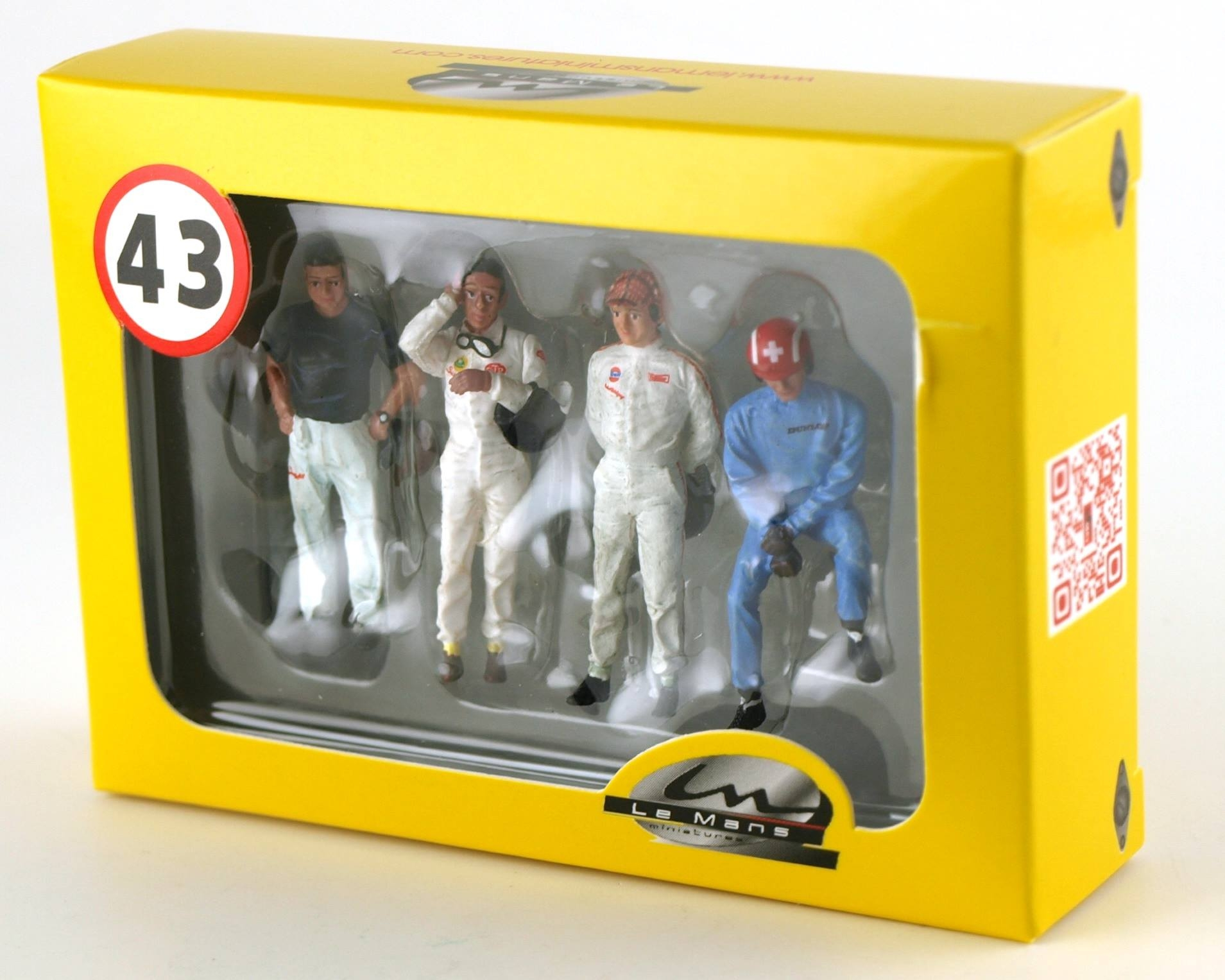 Coffret de 4 figurines peintes Fangio, J.Clark, P.Rodriguez&Jo Siffert - Echelle 1/43 - ref. COFLM143001M
