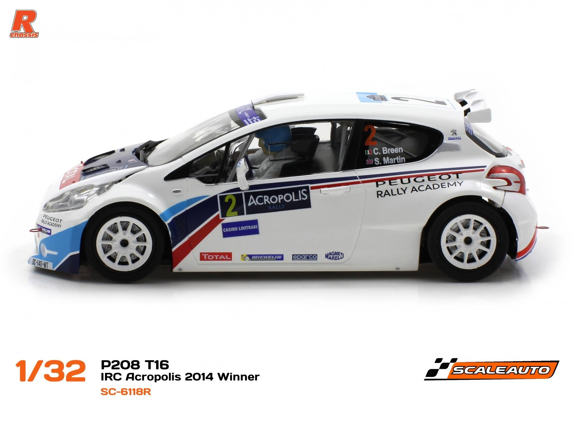 Scaleauto: la Peugeot 208 T16 Rallye Acropole 2014 #2 (SC-6118)
