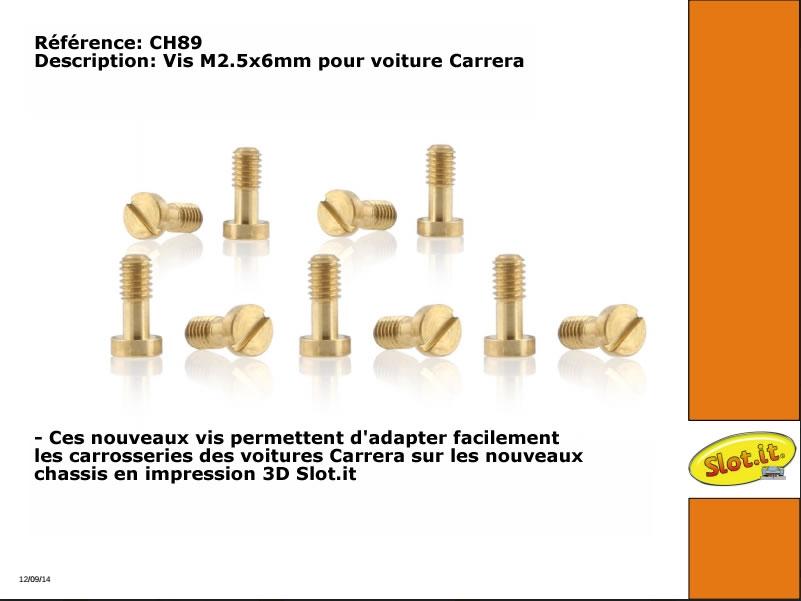 CH89 Vis pour voiture Carrera et châssis 3D Slot it