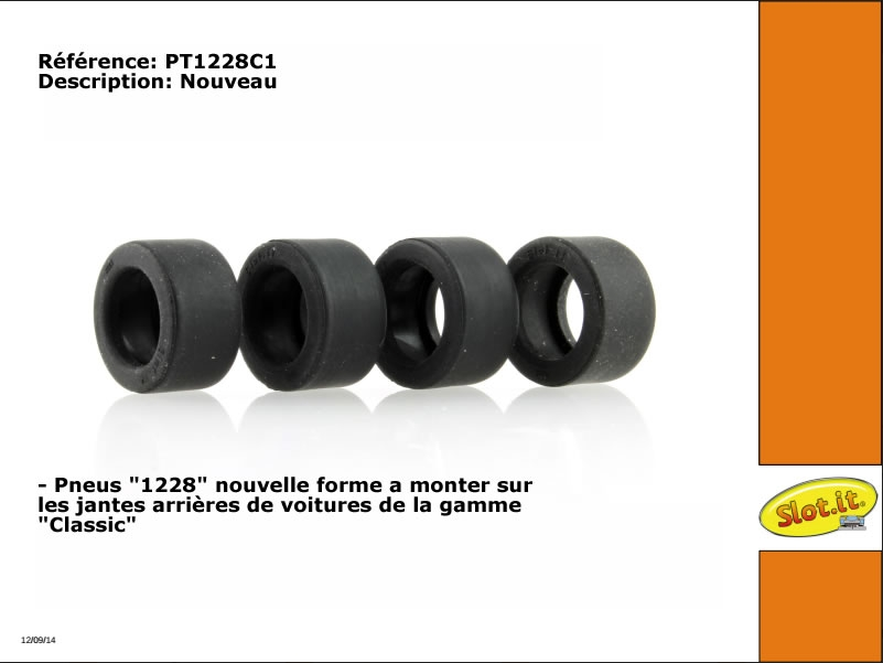 PT1228C1 Pneus arrières pour voitures Classic Slot it