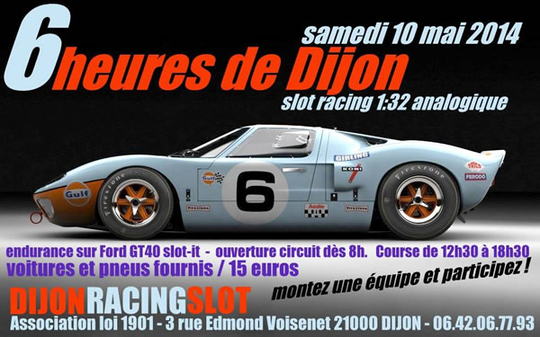 DRS Voitures de slot fournies pour les 6H de Dijon