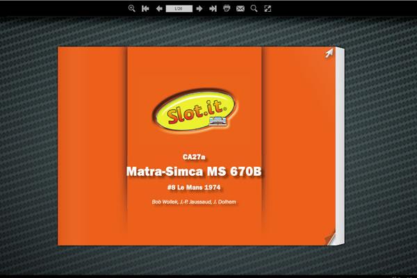 Depliant de la Matra Simca MS 670 LM Slot it