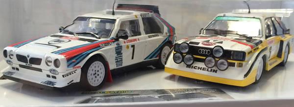 Scalextric le coffret Audi Quattro et Lancia Delta S4 Rallye Monte Carlo 1986