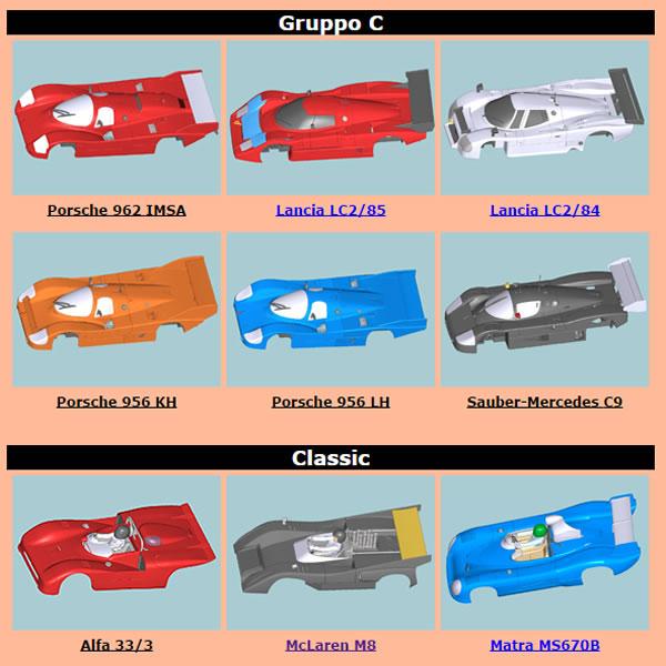 Tableau des notices de montages des carrosseries Slot it