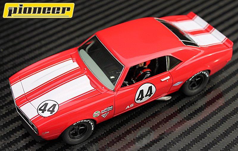 P033 Pioneer 1968 Red Chevrolet Camaro Z-28 Club Sport # 44