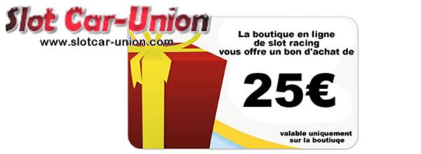 Slot Car Union offre un bon d'achat de 25 € a valoir sur la boutique à Christophe Peix et à Michel Cochon
