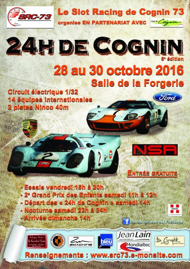 SRC73: Les 24H de Cognin 2016 de slot racing sont lancées
