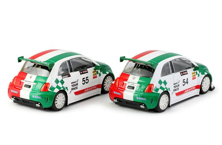 NSR: 2 Fiat 500 Abarth white Trofeo Abarth Italia #54 & #55