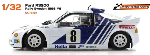 Scaleauto: la Ford RS200 GrB rallye Suède 1986
