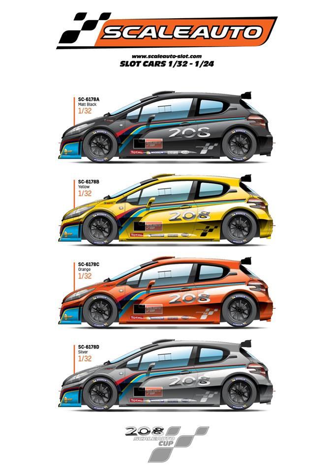 Scaleauto: Quatre Peugeot 208 T6 Cup Editions pour les clubs