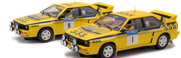 Fly Slot le deux Audi Quattro A2 du rallye de Hong Kong-Beijing 1985