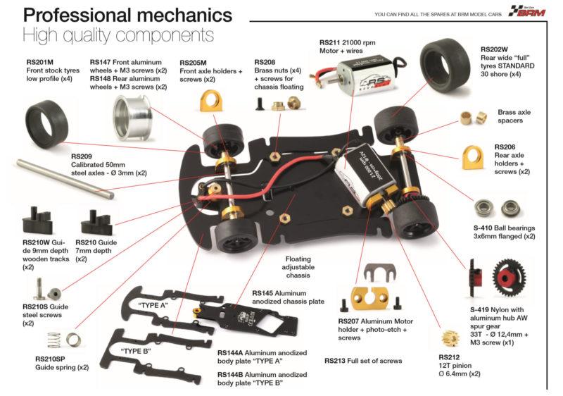 Pièces mecaniques BRM des Ferrari SP de Revoslot
