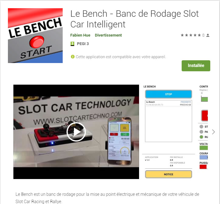 Slot Car Technology: La version 1.3 de l'application Le Bench pour Android