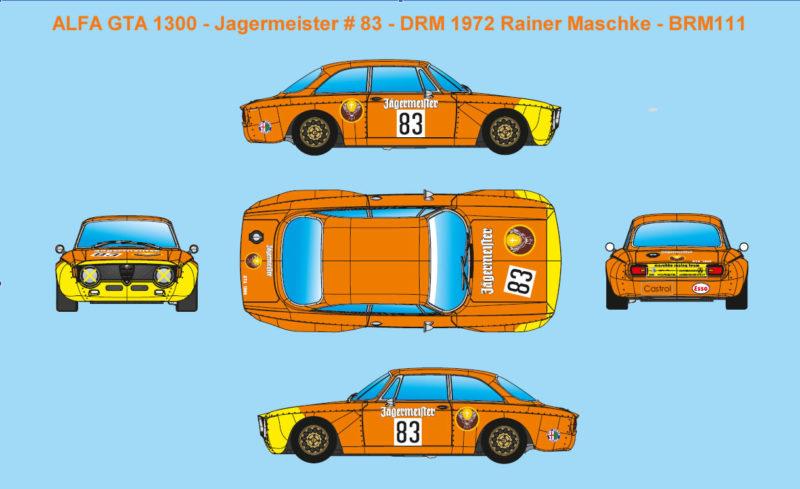 ALFA GTA 1300 - Jagermeister # 83 - DRM 1972 Rainer Maschke - BRM111