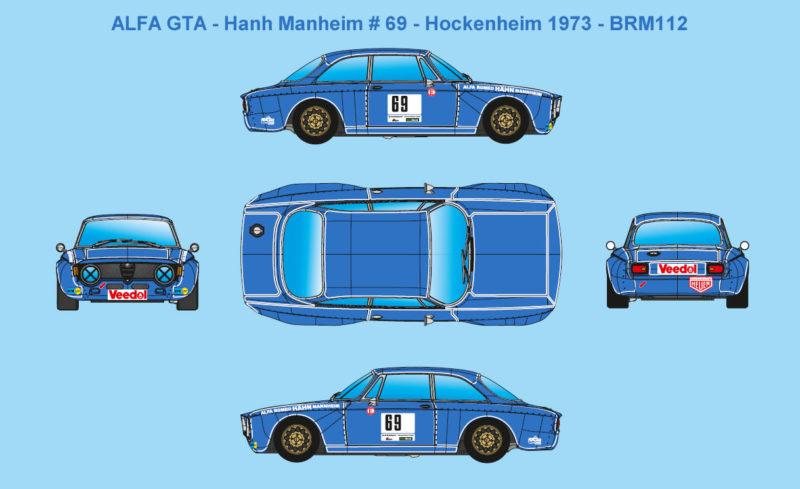 ALFA GTA - Hanh Manheim # 69 - Restyle d'une voiture courue à Hockenheim en 1973 par Bernd Fischer - BRM112