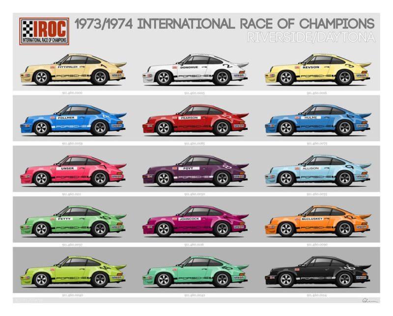 Slotwings Trois Porsche Carrera RSR IROC 1973 en approchent