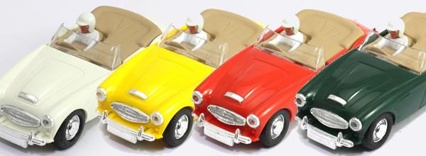 Pink-Kar: Quatre Austin Healey 3000 version route