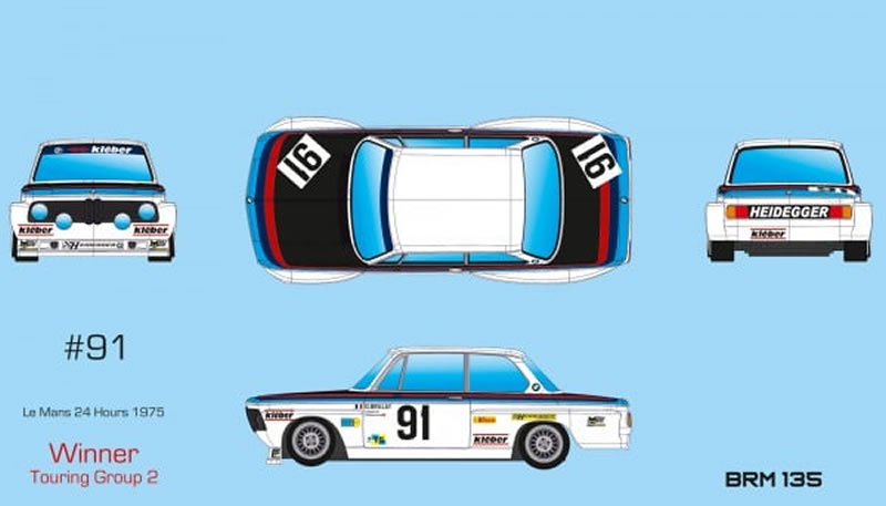 BRM135- BMW 2002 #91 - Team Heidegger - 24h du Mans 1975
