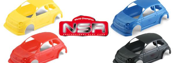 NSR Des kits de carrosserie de couleur pour l'Abarth 500 Asseto Corse EVO