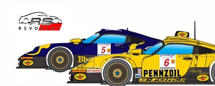 Revoslot : les Porsche 911 GT1 Blue Coral-Slick 50 racing #5 & G-Force Motorsport #6