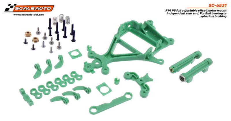 Support de moteur AW RT-4 P5 à décalage réglable avec support de roulement arrière et roulements sphériques.